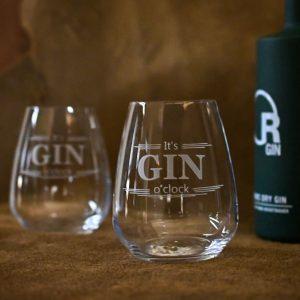 "Glas handgraviert ""GIN O' Clock"""