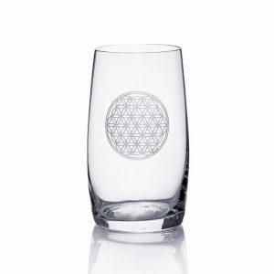 """Glas handgraviert  """"Lebensblume"""""""