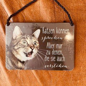 """Metallschild """"Kulthänger Katze"""""""
