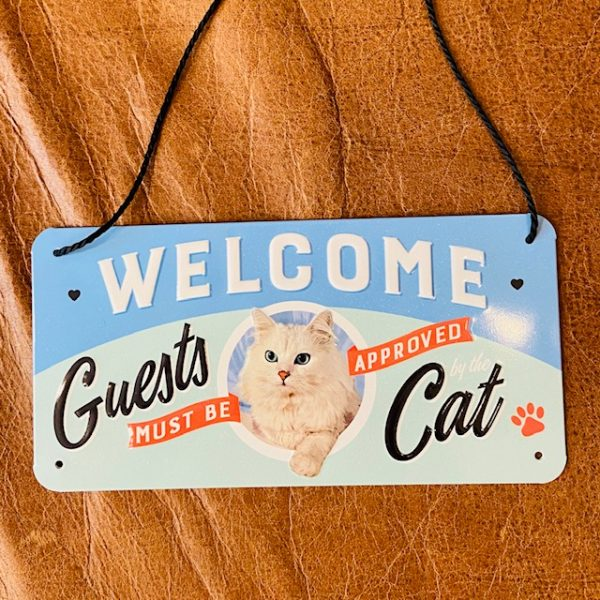 "Metallschild ""Welcome..Cat"" 20x10 cm"