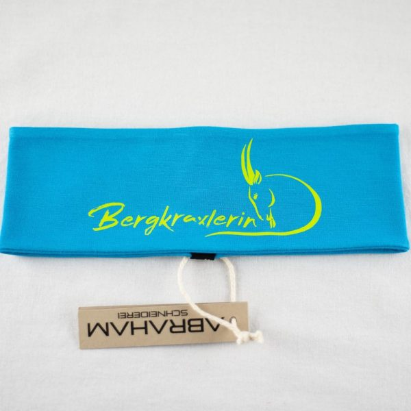 "Stirnband aqua/limette ""Bergkraxlerin"""