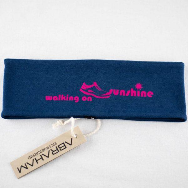 "Stirnband dunkelblau/pink - ""walking on sunshine"""