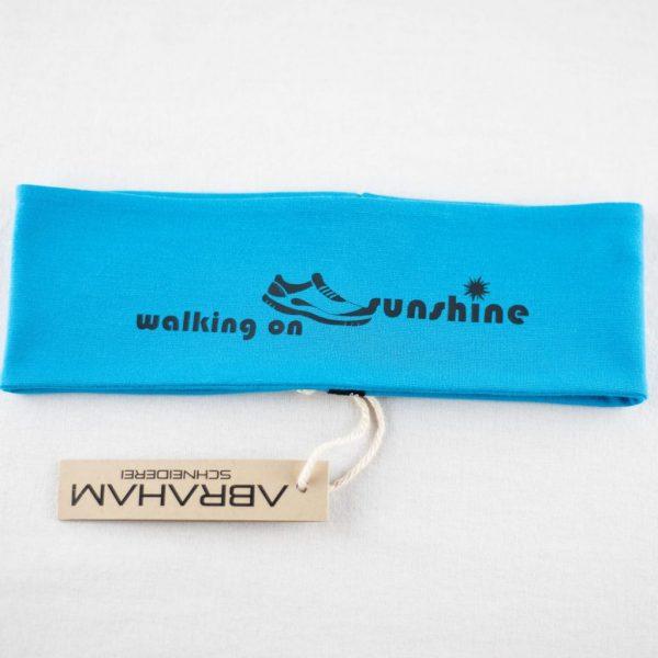 """Stirnband hellblau/schwarz - """"walking on sunshine"""""""
