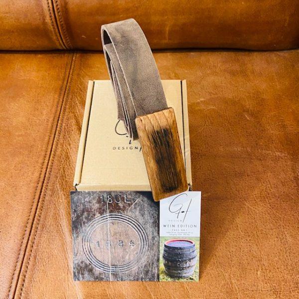 GH Design Ledergürtel mit Holzschnalle vom antiken Weinfass schmal
