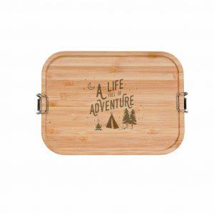Jausenbox Adventure edelstahl/Bambusbrett