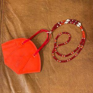"""Maskenkette Perlen """"rot"""""""